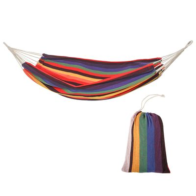 Outsunny Brazilian Style Hammock Extra Large Cotton Hanging Camping Bed for Patio Backyard Lounging, Indoor Outdoor Use,Carrying Bag Included, Rainbow Stripe