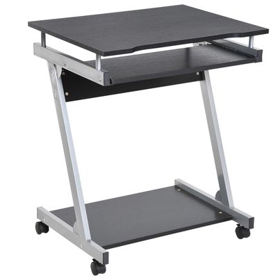 HOMCOM Mobile Compact Computer Cart Desk with Keyboard Tray Standing Workstation with Casters for Storage Black Sliver