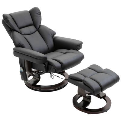 HOMCOM Massage Sofa Recliner Chair with Footrest 10 Vibration Point Faux Leather Black
