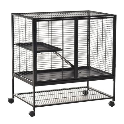PawHut Metal Small Animal Cage Rolling Cat Playpen Critter Nation for Ferret Chinchilla Guinea Pig Play House with Universal Wheels, Black