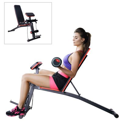 Soozier Foldable Dumbbell Bench Weight Training Fitness 6 Incline Adjustable Workout Gym