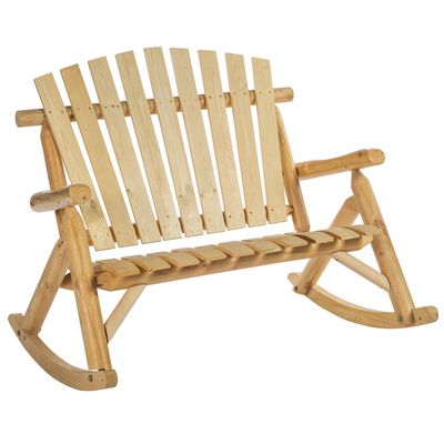 """Outsunny 45"""" Outdoor Adirondack Rocking Chair, Fir Wood Log Slatted Design Patio Rocker for Porch Garden Lounging"""