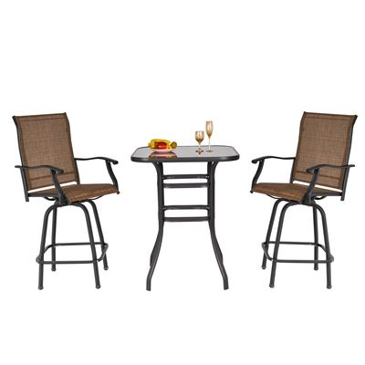 Outsunny 3 Piece Outdoor Patio Bar Set  2 Swivel Stool and 1 Bistro Table  All-Weather  Metal Frame for Balcony  Backyard  Deck  Brown