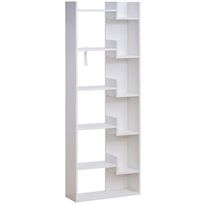 HOMCOM 6-Tier Oak Color MDF Bookcase White Open Shelf for CDs Records Books Home Office