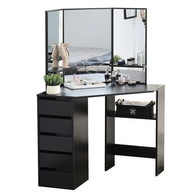 HOMCOM Elegant Dressing Table w/ Tri-Mirror 5 Drawers 2 Shelves Vanity Dresser Black