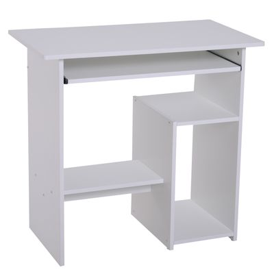 HOMCOM Compact Computer Desk with Keyboard Tray, Storage Shelf & CPU Stand for Home Office White