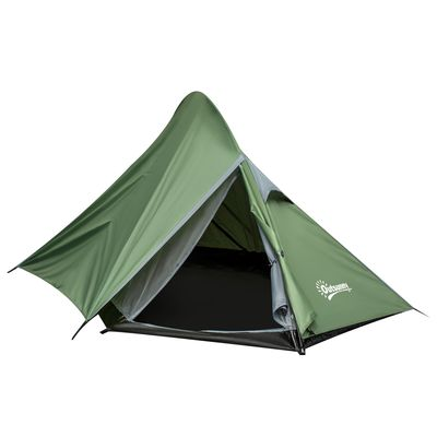 Outsunny Camping Tent 1-2 Person Backpacking with Tent Double Layer Portable Carry Bag Lightweight for Hiking Fishing