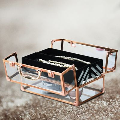 HOMCOM Portable Makeup Case Train Case Lockable Aluminum w/ 4 Trays & Bottom Drawer Rose Gold