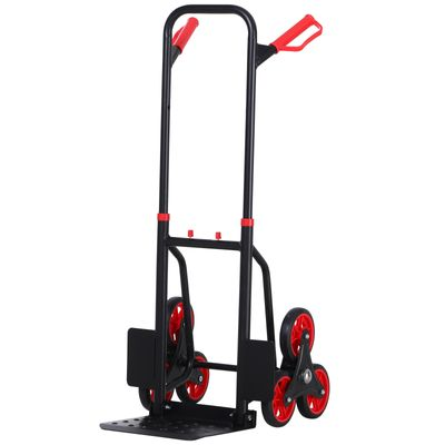 DURHAND 6-Wheels Climbing Stairs Trolley Hand Truck Foldable Steel Load Cart, 330lbs Capacity