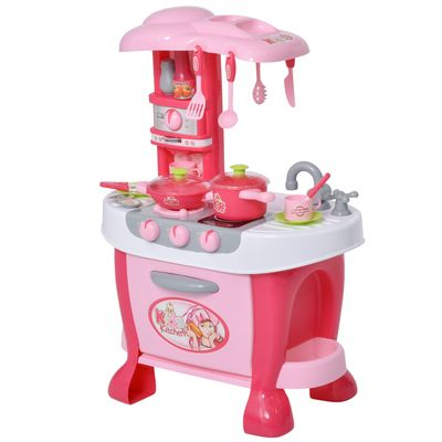 Qaba Kids Kitchen Play Set Children Role Play Game Toy with Light & Sound Function