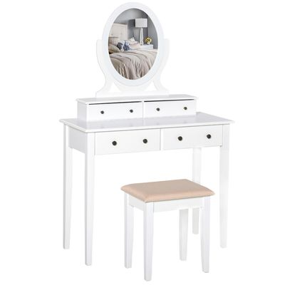 HOMCOM Vanity Dressing Table with 360° Rotating Mirror and Cushioned Stool,Makeup Desk Dresser with 4 Drawers, White