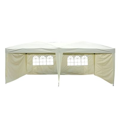 Outsunny 10'x20' Pop Up Party Tent Outdoor Patio Instant Wedding Canopy Shelter with 4 Side Walls (Cream Grey)