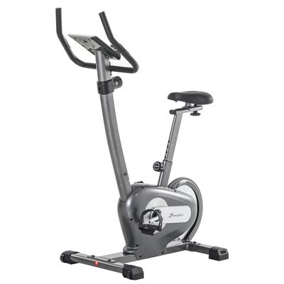 Soozier Indoor Magnetic Exercise Bike 10-Level Adjustable Magnetic Resistance Cardio Workout Cycling Bike Trainer, 16lbs Flywheel, LCD Display, and Adjustable Seat Height Grey
