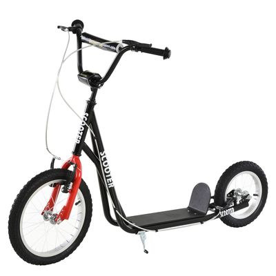 Aosom Teens Youth Kick Scooter Adjustable Handlebar Ride On Toy For 5+ w/ Front and Rear Dual Brakes Inflatable Wheels Black