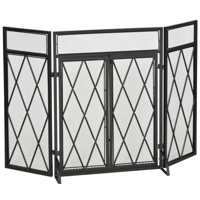 HOMCOM 3-Panel Folding Fireplace Screen with Double Doors, Home Steel Fire Spark Guard, Black