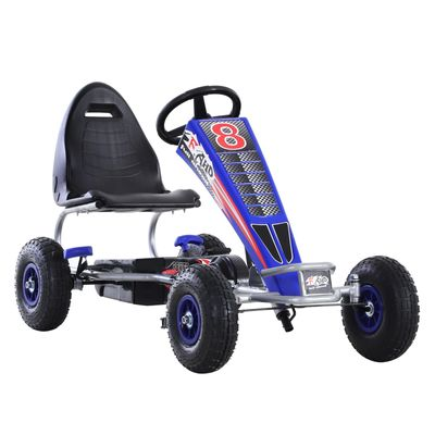 Aosom Pedal Go Kart Children Ride on Car Racing Style with Adjustable Seat  Rubber Wheels  Handbrake  Clutch