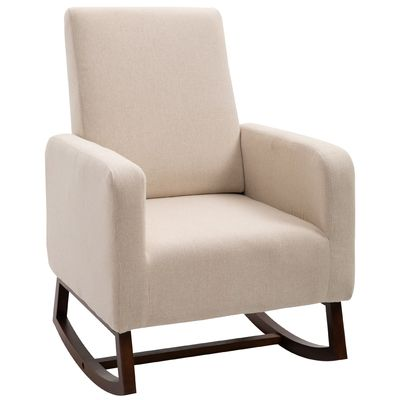 HOMCOM Linen Look Rocking Chair Solid Wood Curved Legs Padded Living Room Seat White