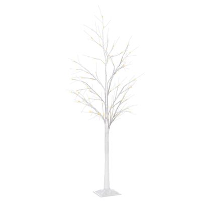 Outsunny 5FT Garden Birch Tree Light with 58 Warm LEDs and 8 Light Modes, DIY Artificial Tree Lamp for Outdoor and Indoor Birthday Wedding Party
