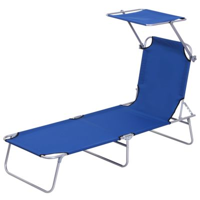 Outsunny Adjustable Garden Chaise Lounge Outdoor Camping Beach Lounging Bed Reclining Seat Portable with Sun Shade (Blue)