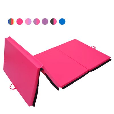Soozier 4ftx10ftx2inch PU Leather Gymnastics Tumbling Gym Mat Arts Folding Yoga Exercise Pad 4 Panel (Pink, 4' x10')