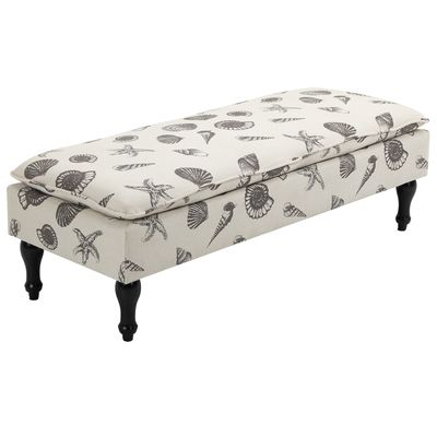 HOMCOM Upholstered Linen-Touch Fabric Ottoman Bench Bed End Stool Footstool Footrest