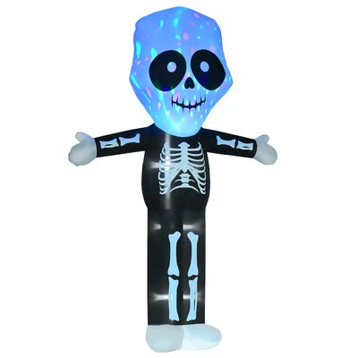 HOMCOM 10ft Halloween Inflatable Skeleton Ghost Decoration, LED Lighted for Home Indoor Outdoor Garden Lawn Decoration Party Prop