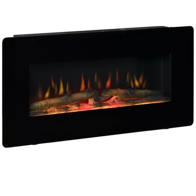 HOMCOM Electric Wall-Mounted Fireplace Heater with Adjustable Flame Effect, Remote Control, Timer, 1400W, Black