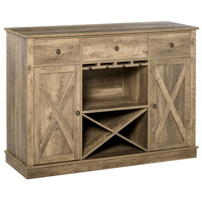 HOMCOM Farmhouse Sideboard Buffet Table Storage Cabinet with 3 Drawers, X-Shaped Wine Rack, Steamware Holder and Cabinets