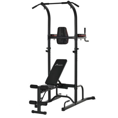 Soozier HOMCOM Multi-Function Training Stand Power Tower Station Gym Workout Equipment WIth Sit Up Bench, Pull Up Bar, Black