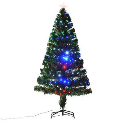 HOMCOM 5FT Pre-lit LED Optical Fiber Christmas Pine Tree Artificial Holiday Décor with Stand Green