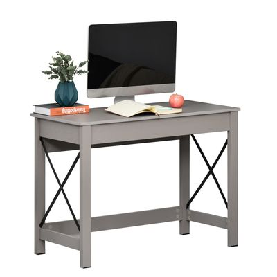 HOMCOM Rectangle Laptop Table Minimalist Style Home Office Computer Desk Writing Workstation  Grey Wood Grain
