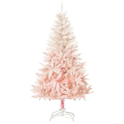 HOMCOM 5ft Artificial Christmas Tree Home Decoration Automatic Open  White and Pink