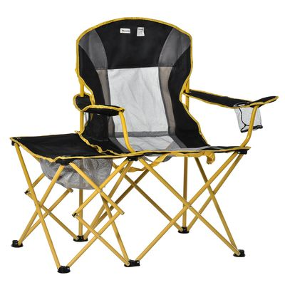 Outsunny Lightweight Camping Folding Chair Portable Fishing Seat w/ Carry Bag, Cup Holder & Side Table for Travel, Beach, Picnic, Hiking, Black & Yellow