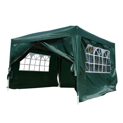 Outsunny 10'x10' Outdoor Pop Up Party Tent Wedding Gazebo Canopy with Carrying Bag (Green)