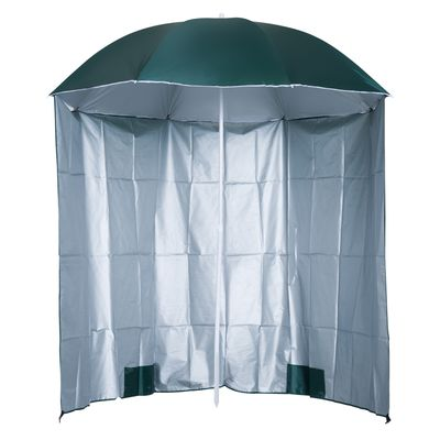Outsunny Arc. 7ft Fishing Umbrella Beach Parasol with Sides Brolly Shelter Canopy Shade with Carry Bag Dark Green