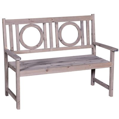 Outsunny 2-Seater Garden Bench Solid Fir Wood Loveseat Chair Patio Outdoor Furniture