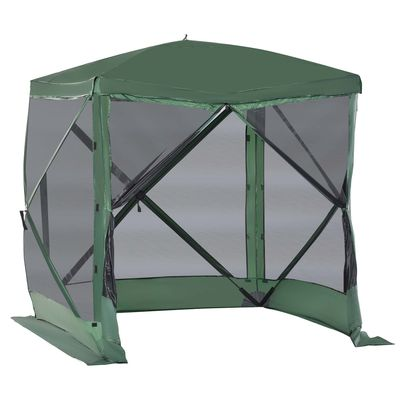 Outsunny Pop-Up Screen House Gazebo Camping Outdoor Instant Setup Tent Fits 3-4 People 210D Material w/ Carry Bag & Ground Stakes, Green