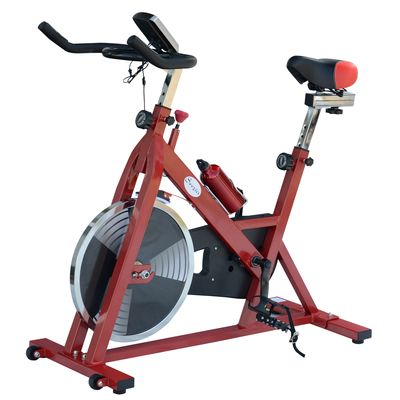 Soozier Upright Stationary Exercise Cycling Bike w/ LCD Monitor - Red and Black