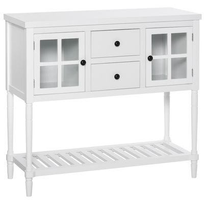 HOMCOM 2-Drawer Entryway Console Table Accent Desk with Glass Doors & Slatted Shelf