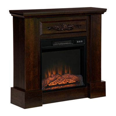 HOMCOM Electric Fireplace with Mantel, Freestanding Heater Corner Firebox with Log Hearth and Remote Control, 1400W, Brown