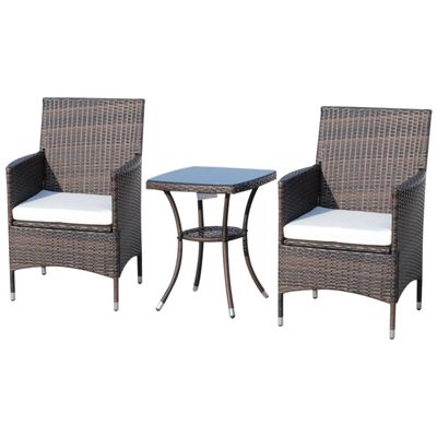 Outsunny 3pcs Rattan Coffee Set Garden Furniture All Weather Coffee Table Coffee