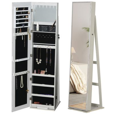 HOMCOM Full-Length Mirror Jewelry Cabinet with LED Lights Makeup & Cosmetic Storage