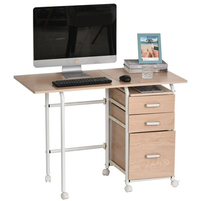 HOMCOM Foldable Computer Desk Laptop PC Home Office Study Table with Drawers & Wheels