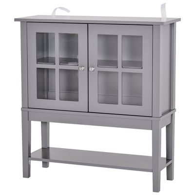 HOMCOM Sturdy Kitchen Solid Storage Sideboard Cabinet w/Glass Door