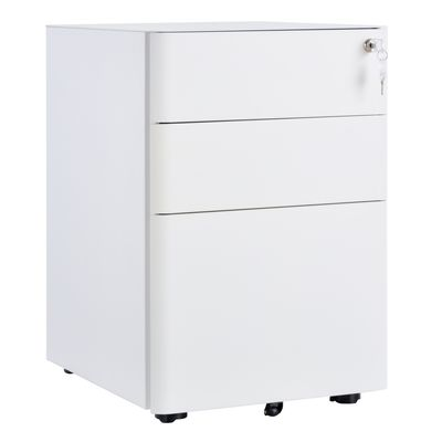 Vinsetto 3 Drawers Steel File Cabinet On castors Lock Drawer Home Office