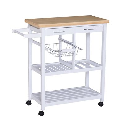 HOMCOM Wooden Rolling Kitchen Trolley Wood Top Island Storage Serving Cart Included Wine Rack with Drawers White