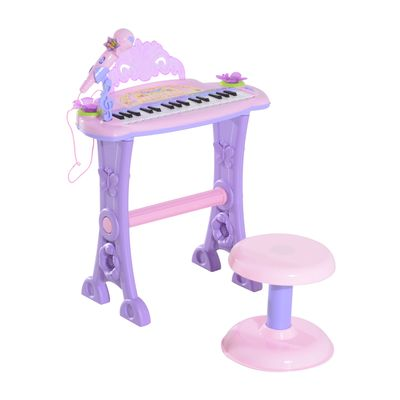 Qaba Kids Piano Electronic Keyboard Instrument with Microphone and Stool 32 Keys Musical Toy Organ Educational Gift for Children Pink