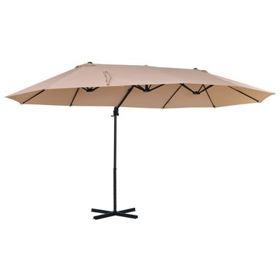 Outsunny Outdoor Double Sided Patio Umbrella Sunshade Beige