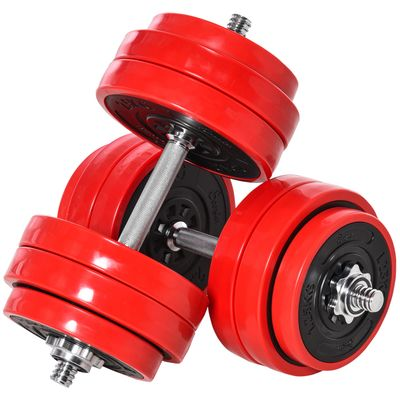 Soozier 66lbs Two-In-One Dumbbell & Barbell Adjustable Set Strength Muscle Exercise Fitness Plate Bar Clamp Rod Home Gym Sports Area
