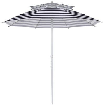 Outsunny Arc. 8ft Beach Umbrella Double-top Canopy Adjustable Height with Carry Bag for Beach Patio Garden Outdoor Blue Stripe